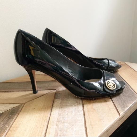 Dior Black Patent Leather Peep Toe Heels